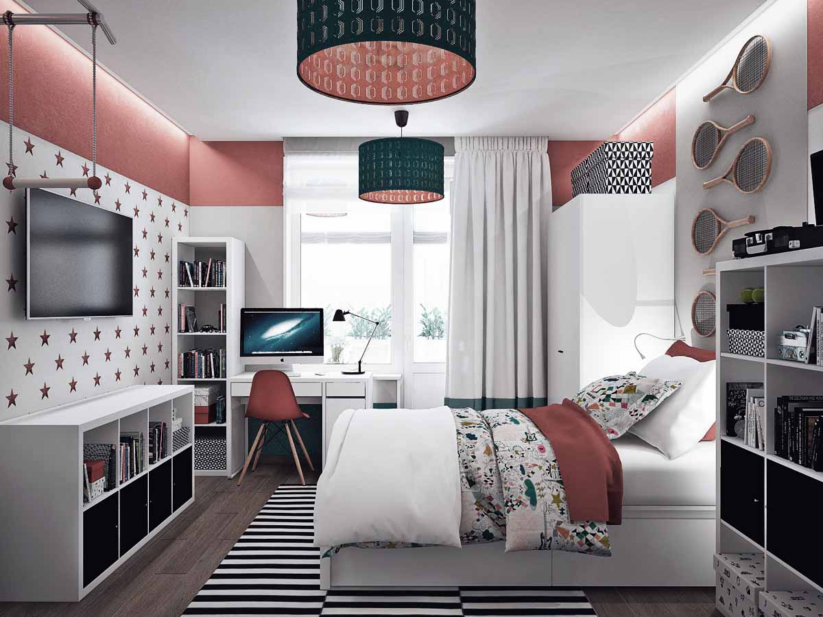 colorful-orange-and-teal-kids-bedroom.jpg